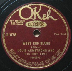 Etiqueta de la cara del tema West End Blues.