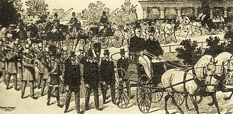Desfile de una gran compañía del siglo XIX antes del espectáculo. Normalmente las compañías no presentaban el aspecto tan elegante y solemne como el que se reproduce en este grabado de la época.