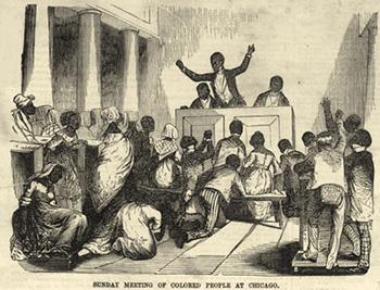 Celebración religiosa en una iglesia negra en Chicago (Ballou's Pictoria, 1859).